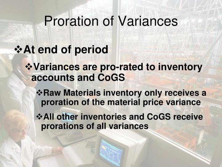 Proration of Variances