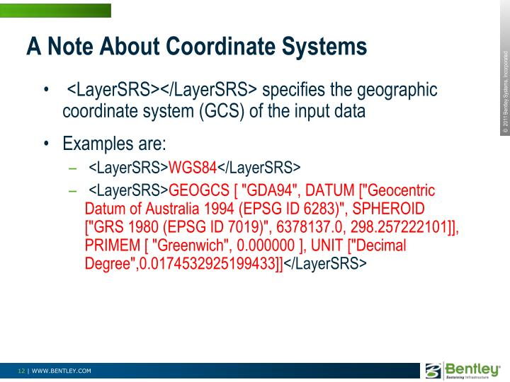 A Note About Coordinate Systems