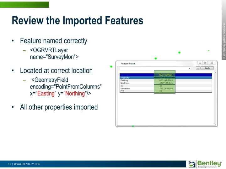 Review the Imported Features