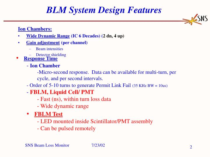 Blm system design features