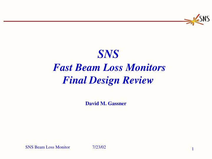 Sns fast beam loss monitors final design review