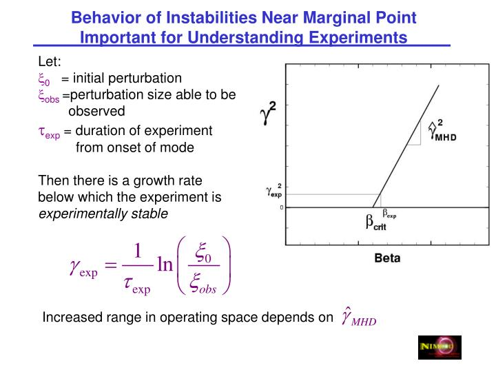 Behavior of Instabilities Near Marginal Point Important for Understanding Experiments