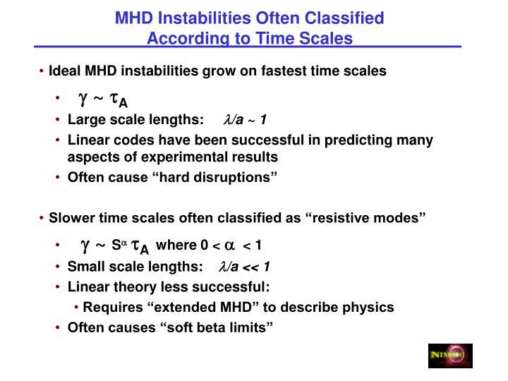 MHD Instabilities Often Classified