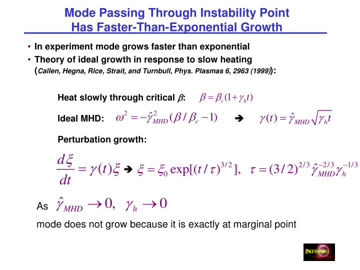 Mode Passing Through Instability Point