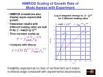 nimrod scaling of growth rate of mode agrees with experiment