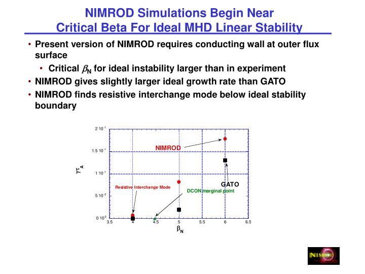 NIMROD Simulations Begin Near