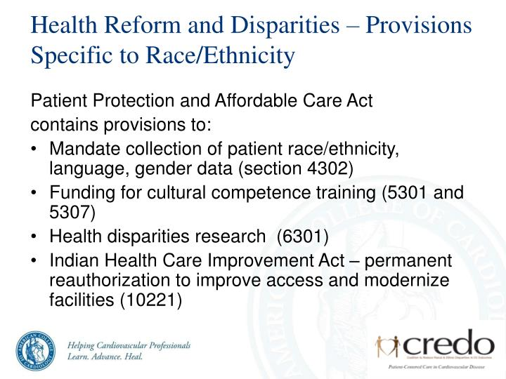 Health Reform and Disparities – Provisions Specific to Race/Ethnicity