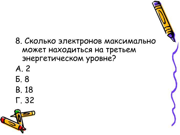 8. Сколько электронов максимально может находиться на третьем энергетическом уровне?