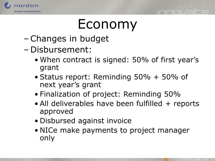 Changes in budget