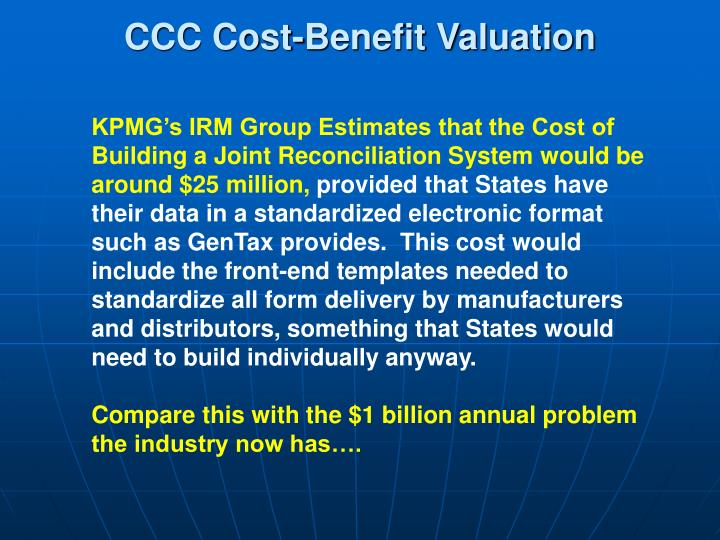 CCC Cost-Benefit Valuation