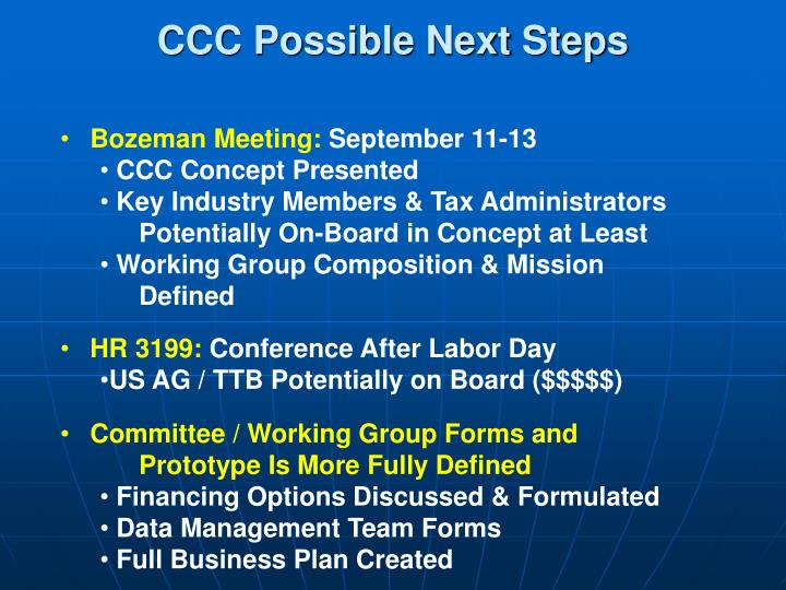 CCC Possible Next Steps