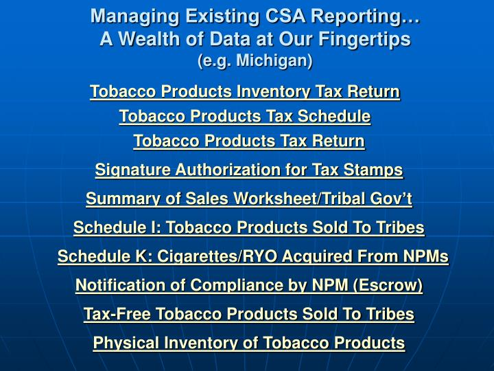 Managing Existing CSA Reporting…