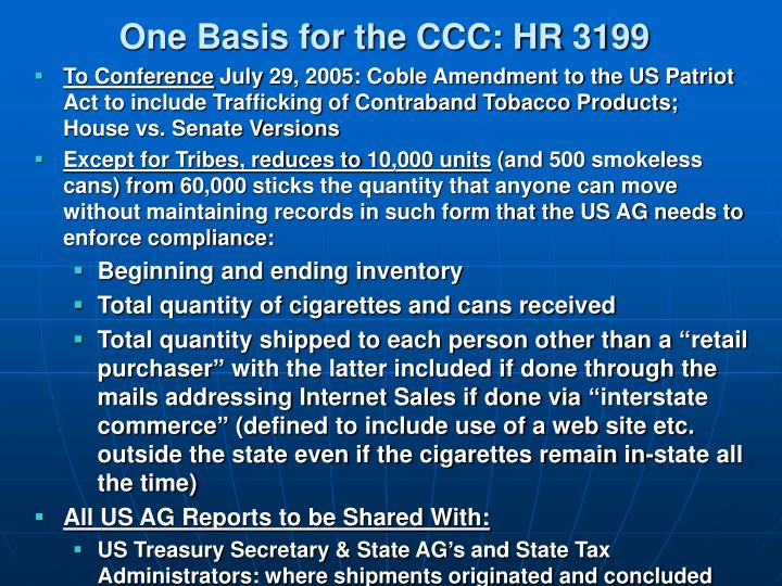 One Basis for the CCC: HR 3199