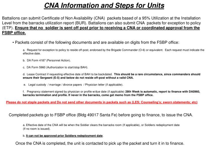 CNA Information and Steps for Units
