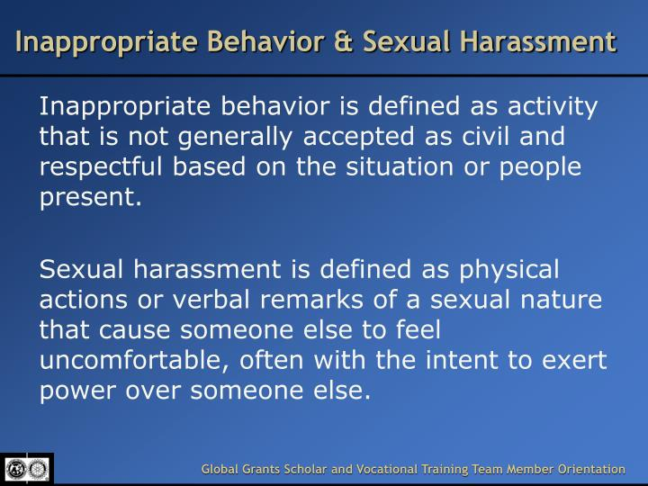 Inappropriate Behavior & Sexual Harassment