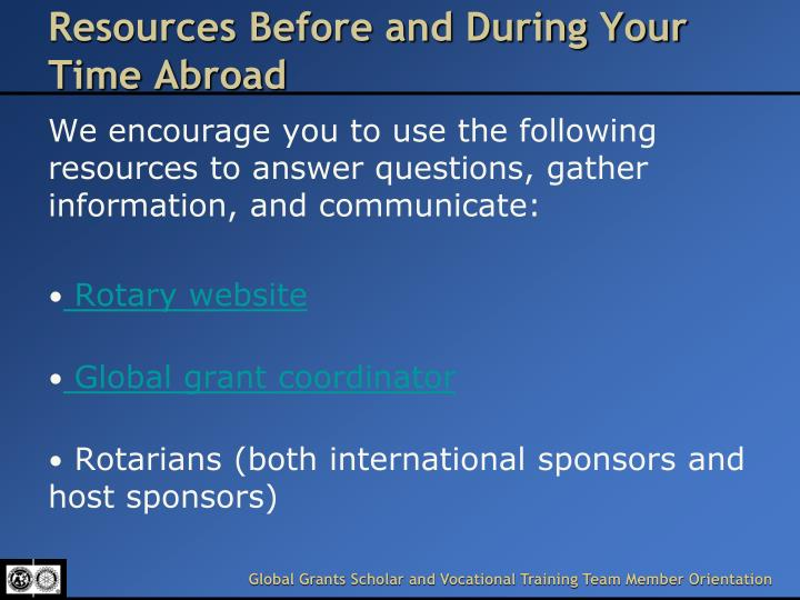 Resources Before and During Your Time Abroad