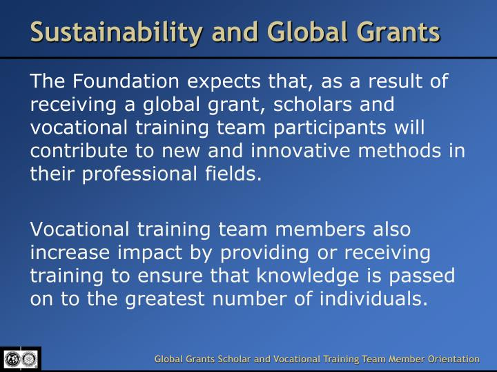 Sustainability and Global Grants