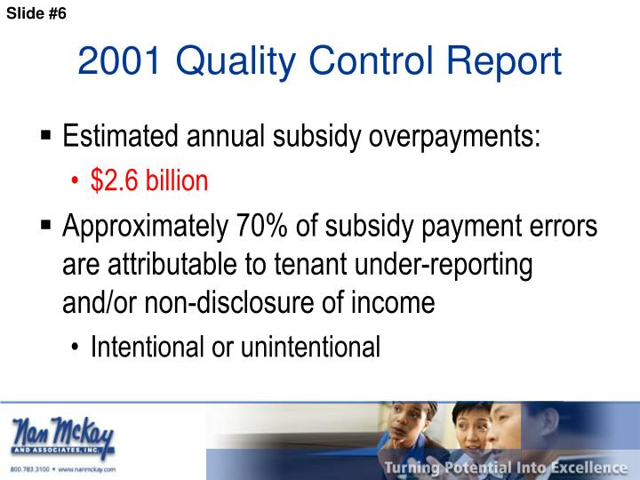 2001 Quality Control Report