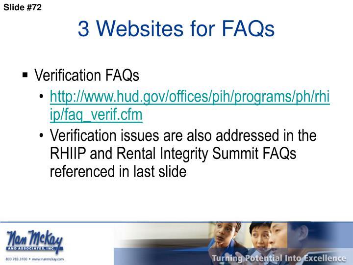 3 Websites for FAQs
