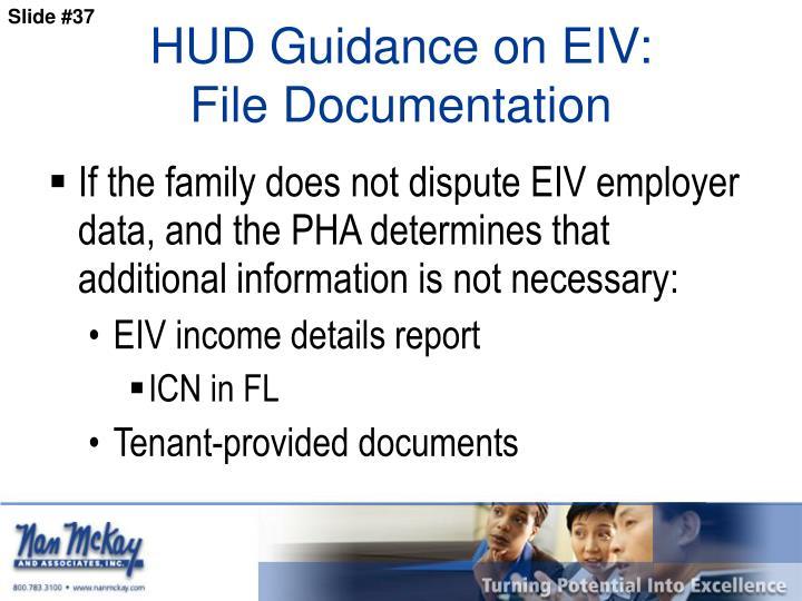 HUD Guidance on EIV: