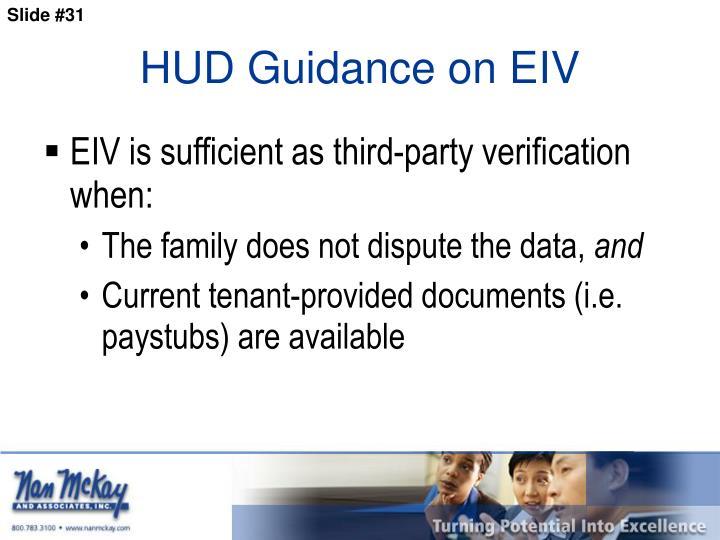 HUD Guidance on EIV