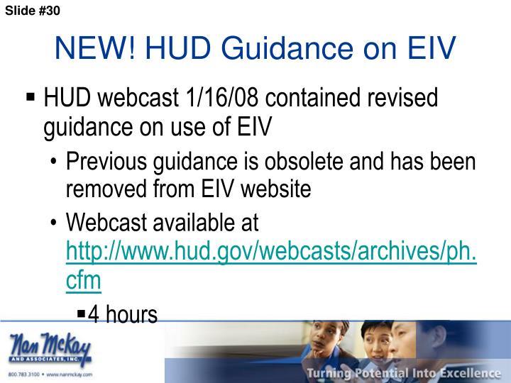 NEW! HUD Guidance on EIV