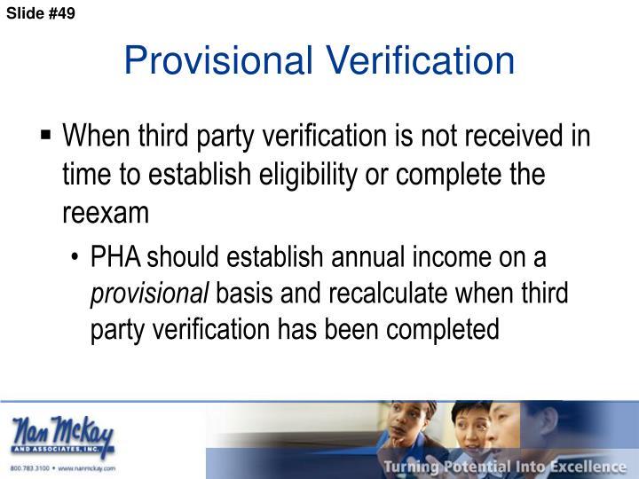 Provisional Verification