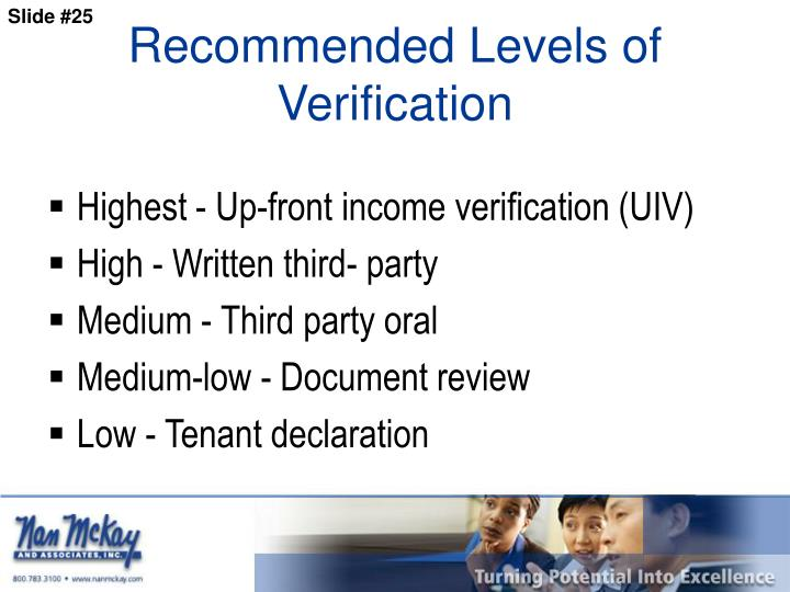 Recommended Levels of Verification