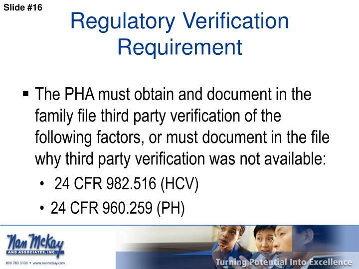Regulatory Verification Requirement