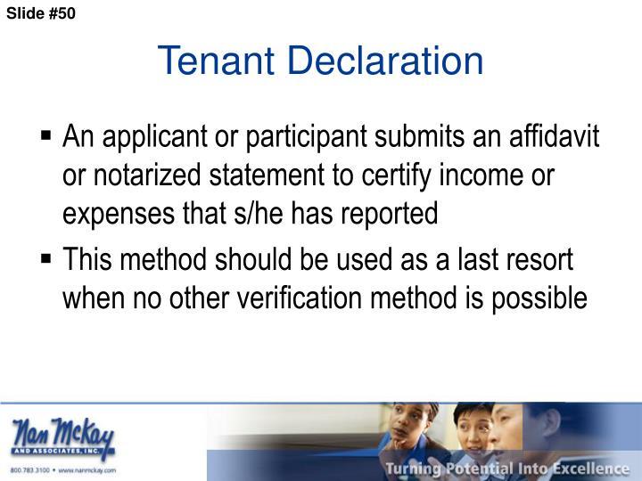 Tenant Declaration