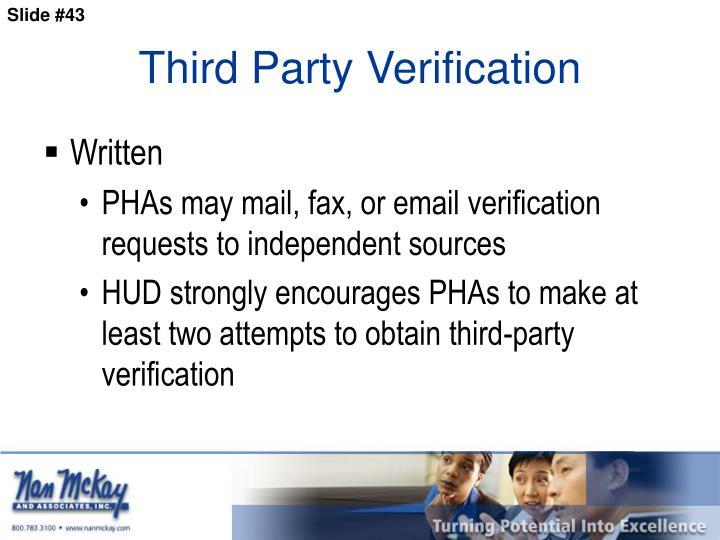 Third Party Verification