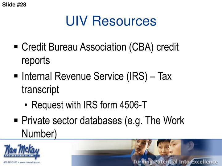UIV Resources