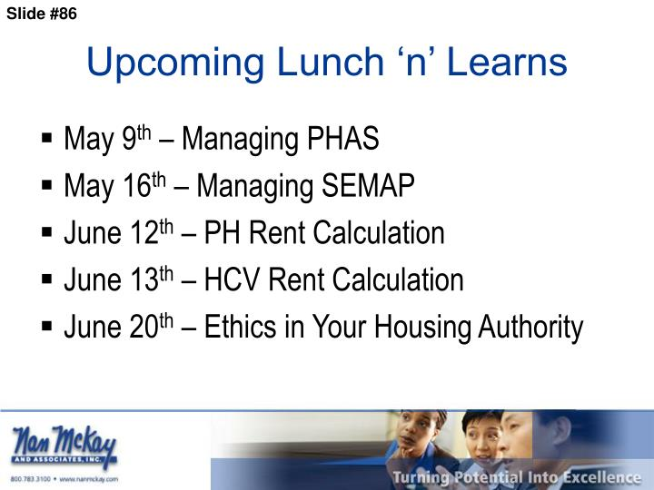 Upcoming Lunch 'n' Learns