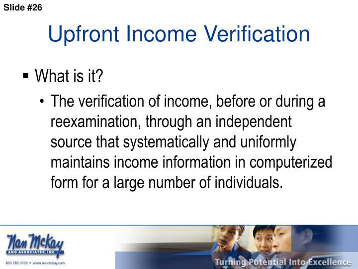 Upfront Income Verification