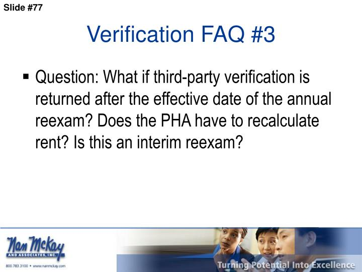 Verification FAQ #3