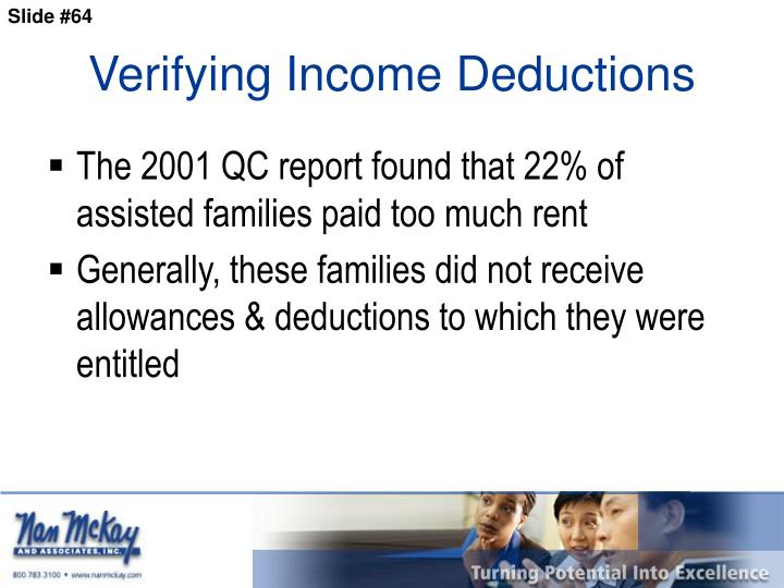 Verifying Income Deductions