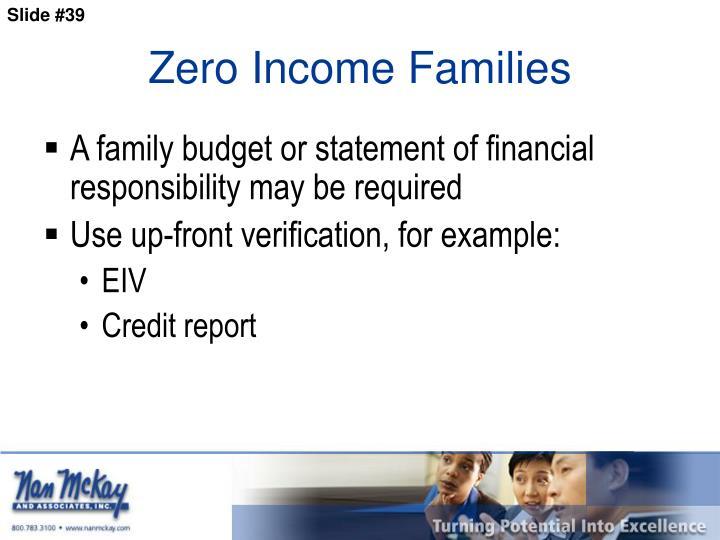 Zero Income Families