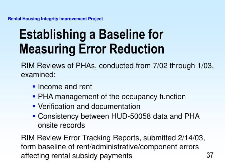 Establishing a Baseline for Measuring Error Reduction