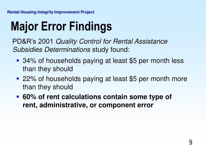 Major Error Findings