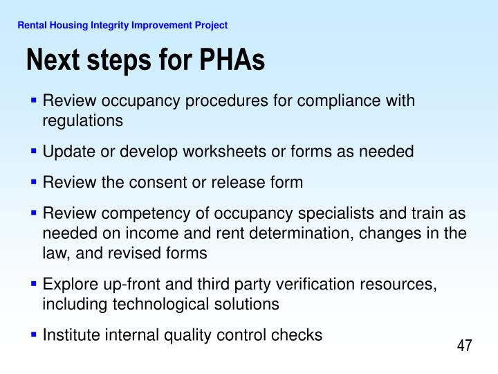 Next steps for PHAs