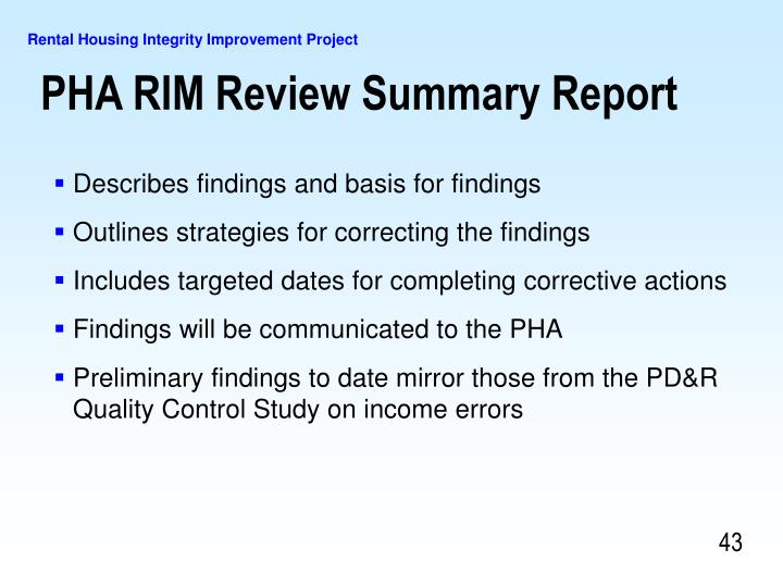 PHA RIM Review Summary Report