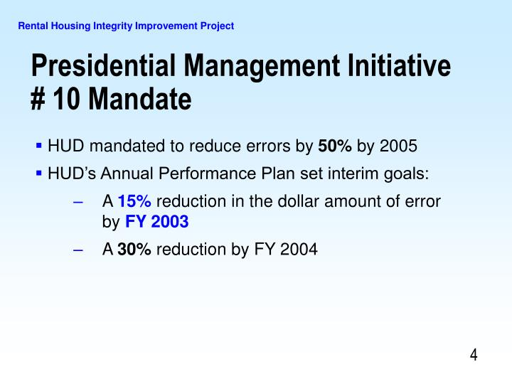 HUD mandated to reduce errors by