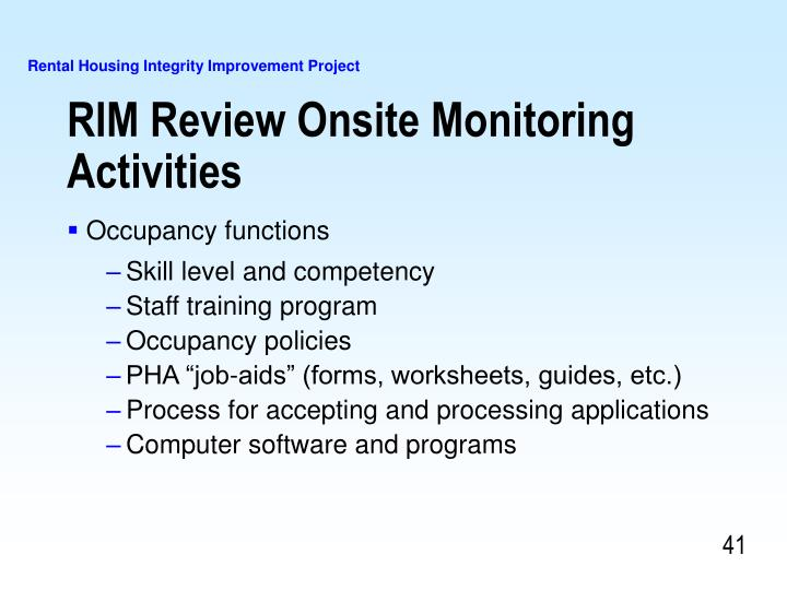 RIM Review Onsite Monitoring Activities