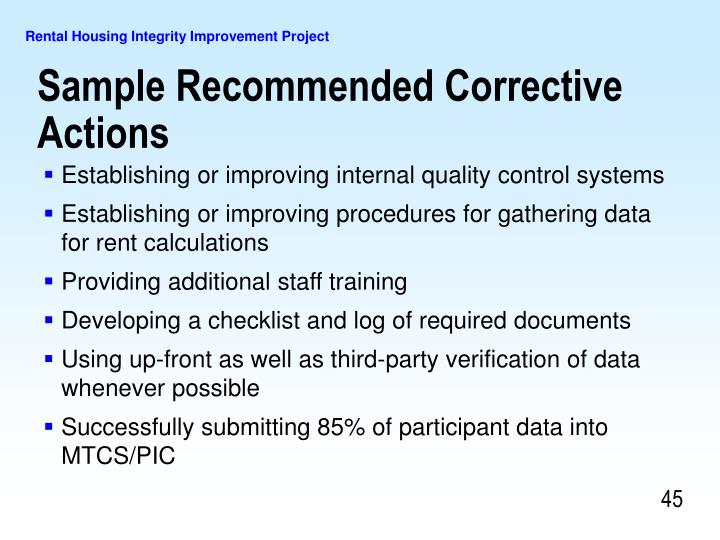 Sample Recommended Corrective Actions
