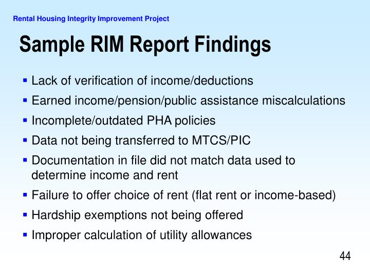 Sample RIM Report Findings