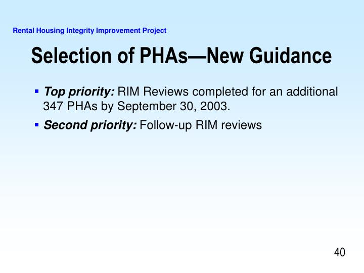 Selection of PHAs—New Guidance