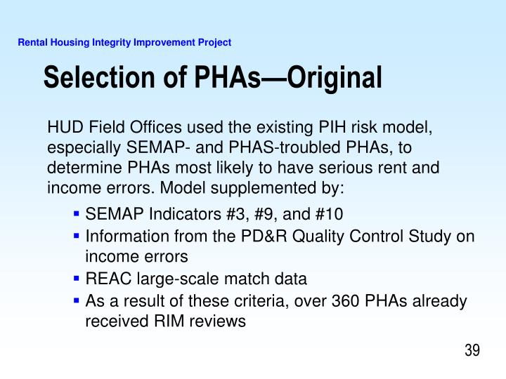 Selection of PHAs—Original
