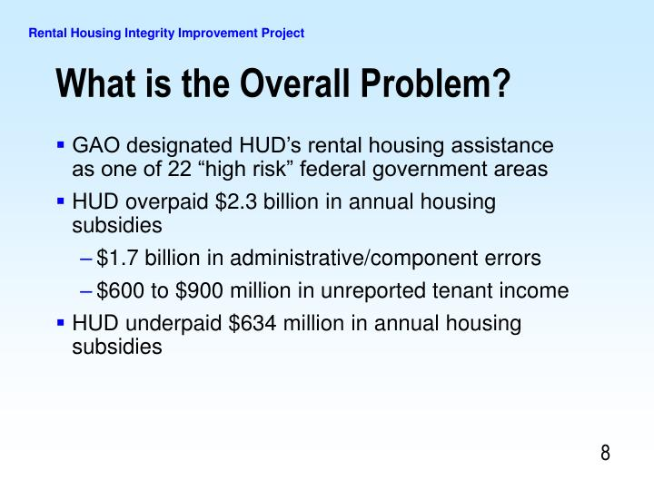 "GAO designated HUD's rental housing assistance as one of 22 ""high risk"" federal government areas"
