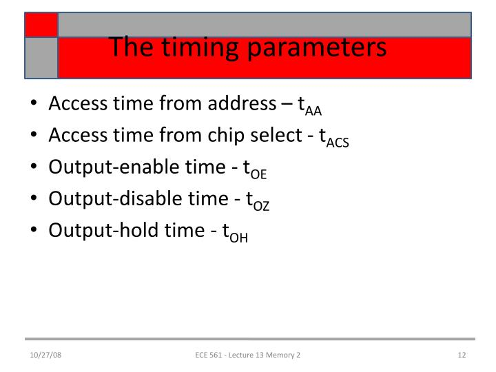 The timing parameters
