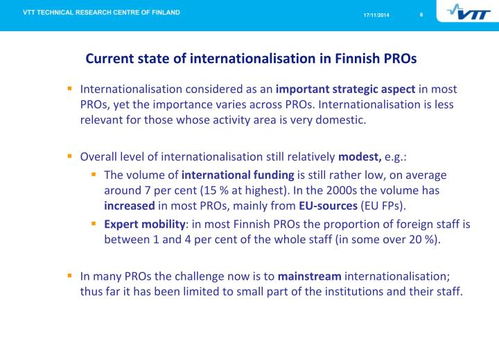 Current state of internationalisation in Finnish PROs
